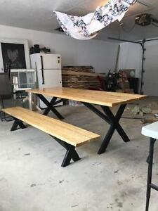 Custom outdoor table w/ seperate benches