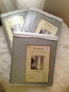 TWO BRAND NEW SILVER/GRAY LINED CURTAIN PANELS