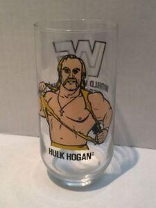 2 WWF Vintage Glass Cups - Hulk Hogan & Brutus Beekcake