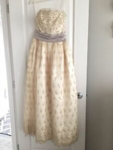 French/Lace Ivory and Violet Strapless Wedding or Grad Dress