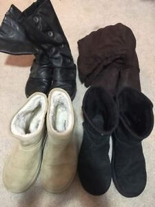 4 pairs of womans size 8 boots for $10.00