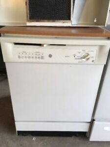 """GE Portable white 24"""" width dishwasher over wheel to move around"""