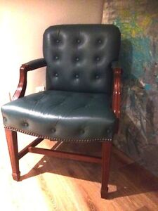 Emerald Green Tufted Leather Chair for SALE