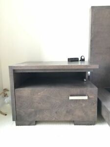 Pair of Espresso Brown Solid Wood Bedside Tables