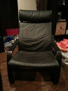 Black leather ikea chair