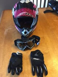 Girls Pink Zox Adrenalin Motocross Helmet & Extras