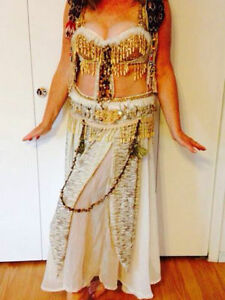 TWO HANDMADE QUALITY BELLYDANCE COSTUME OUTFIT