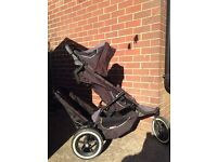 PHIL AND TED DOUBLE PUSHCHAIR WITH FOOTMUFF/BABY COSY AND ORIGINAL RAIN COVER