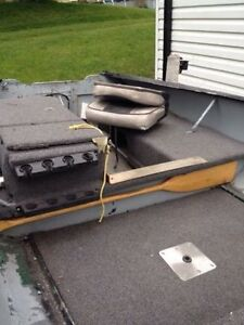 14' grey steel boat with trailer and full size spare tire