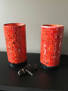 Pair of Orange Table Lamps from the Birdie's Nest