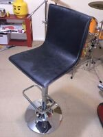 3 leather, chrome pneumatic bar stools