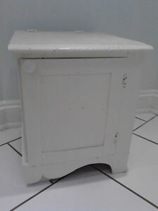 ANTIQUE White Wooden Commode/ Table