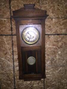 Antique Wall Hanging Regulator Pendulum Oak Clock 1920 - 1936