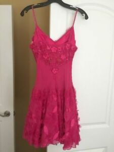 100% Silk Sue Wong Collection Hot Pink Beaded Petal Dress
