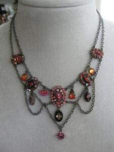 ONE-of-a-KIND ORNATE OLD VINTAGE TIERED GEMSTONE CHAIN NECKLACE