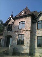 Maçonnerie, restauration de mur, crépi, cheminée, fissure