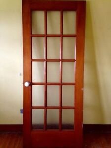 Solid Wood Door with Frosted Glass Panels