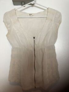 BRAND NEW FOREVER 21 LACE ZIP UP BLOUSE, MUST GO, SUPER CUTE!