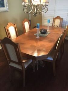 9 Piece Solid Oak Dining Table Set
