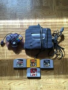 Nintendo 64 with 4 games
