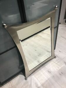 MODERN WHIMSICAL BRUSHED NICKEL MIRRORS - SELL FOR $500+ NEW!!!