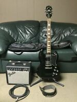 Epiphone SG G-400 Pro Guitar w/ Fender Amp, Stand, Cord and Case