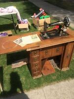 Antique Singer Treadle Sewing Machine in Fancy Cabinet