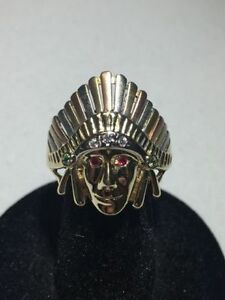 10K YELLOW GOLD INDIAN HEAD RING