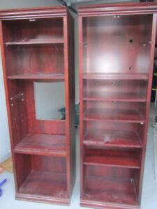 Cherry-veneer shelf pair