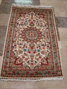 IVORY FLORAL ORIENTAL HAND KNOTTED RUG WOOL SILK CARPET FB-2835