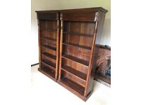 2 Matching mahogany bookcases shelving with secret drawer at the top ! Can deliver