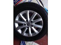 "15 "" genuine volkswagon golf alloys & tyres (for passat golf polo focus car jetta van skoda caddy)"
