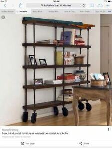 Want an Awesome Industrial Look in Your Kitchen? Vintage Cart