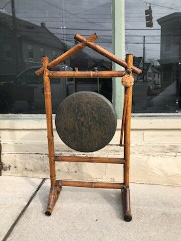 ANTIQUE JAPANESE OR CHINESE OR OTHER ASIAN BRONZE BRASS GONG WITH BAMBOO STAND