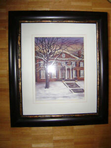 "Winter scene, stately home, framed, 22.5"" x 26.5"" Kitchener / Waterloo Kitchener Area image 1"