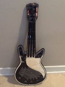 Silver and Black Mosaic Guitar Plaque