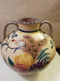 Early Poole Pottery(Carter Stabler Adams 15cm High Twin Handled Vase painted by Eileen Pragnell