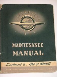 Oldsmobile Maintenance Manual 1952 Olds  Vintage