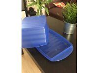 Blue tupperware bread storage - multi use storage - kitchen