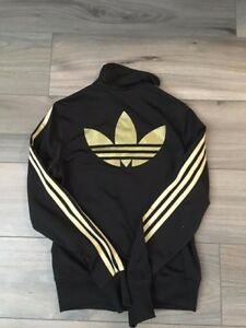Gold Adidas Zip-Up Sweater for Sale