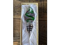 Leaf Shaped Murano Style Glass Wine Bottle Stopper- Handblown BNIB