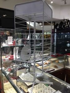 4 sided Gridwall Retail Revolving Spinner Counter Display