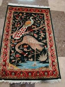 PEACOCK OSTIRICH TREE HAND KNOTTED RUG WOOL CARPET FB-2881