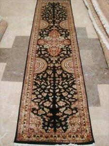 Rare Hot Black Flowers Lively Soft Hand Knotted Carpet Hall Way Runner Rug (10.0 x 2.7)'