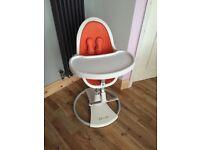 Bloom Fresco High Chair. White with orange trim.
