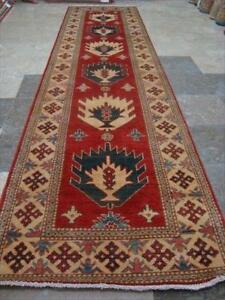 Super Kazak Caucasion Geometric Vegetable Dyed Ghazni Wool Hand Knotted Runner Rug (10.9 x 2.8)'