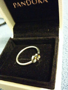 "Authentic Pandora "" Heart to Heart "" Two Tone Ring Windsor Region Ontario image 2"