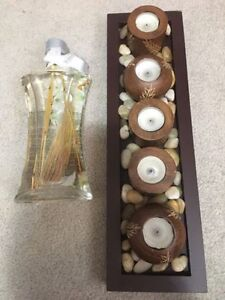 Decorative Lamp Oil and wood tea candle rock garden