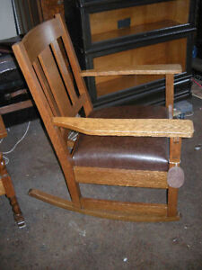 antique oak arts and craft rocker new leather