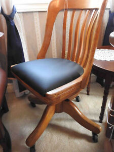 Antique vintage  krug office  chair, no arms, new leather seat